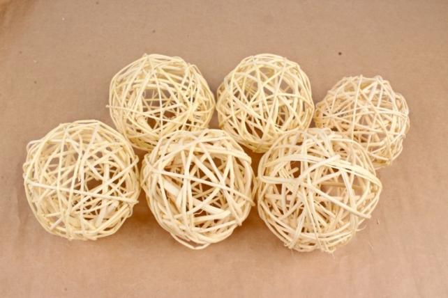 Набор шаров плетеных (ротанг) 6шт., белый 48-17Wh10