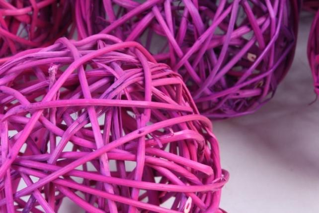 Набор шаров плетеных (ротанг) 6шт.,фиолетовый - Размеры: d=10 см.