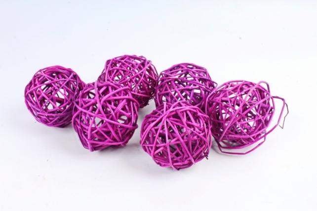 Набор шаров плетеных (ротанг) 6шт., D8см, фиолетовый 48-17Pur8