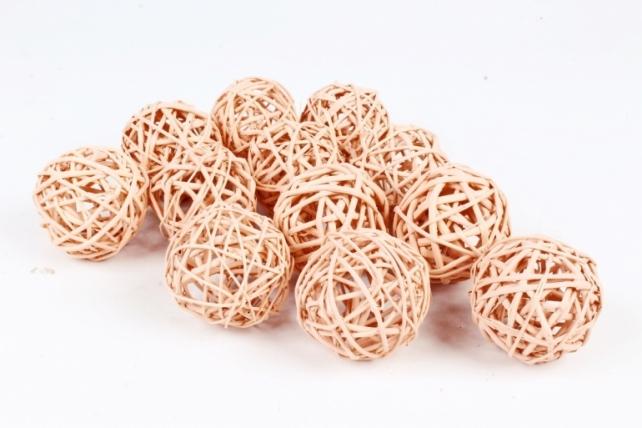 Набор шаров плетеных (ротанг) 12шт.,  капучино