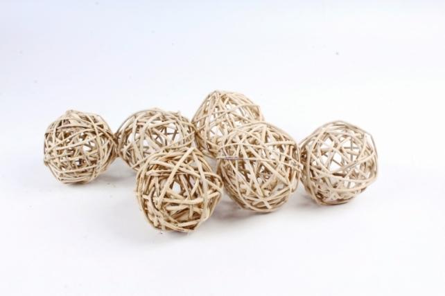 Набор шаров плетеных (ротанг) 6шт., D8см, натуральный 48-17Nat8