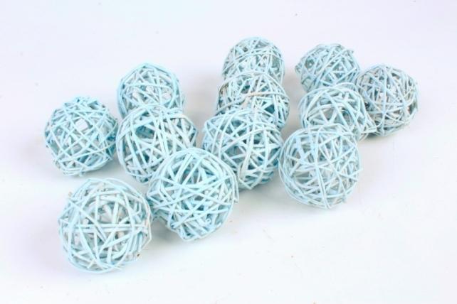 Набор шаров плетеных (ротанг) 12шт.,  пастельно-голубой