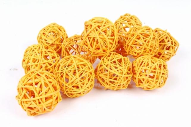 Набор шаров плетеных (ротанг) 12шт., пастельно-оранжевый