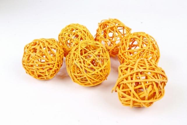 Набор шаров плетеных (ротанг) 6шт.,   пастельно-оранжевый 48-17PLO8