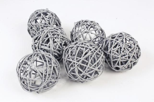 Набор шаров плетеных (ротанг) 6шт.,   пастельно-серый 48-17PLG8