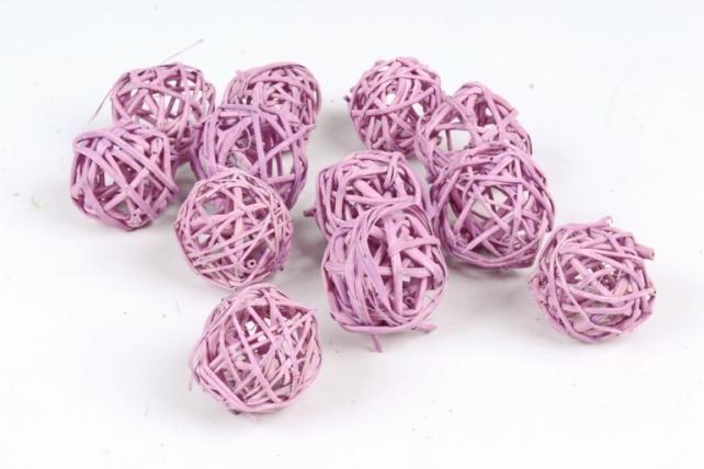 Набор шаров плетеных (ротанг) 12шт.,  пастельно-сиреневый