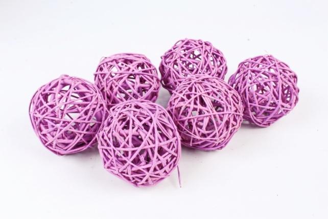 Набор шаров плетеных (ротанг) 6шт.,  пастельно-сиреневый 48-17PP8