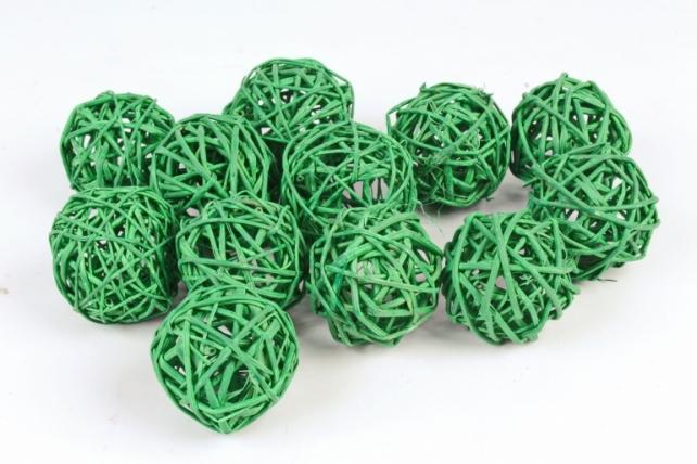 Набор шаров плетеных (ротанг) 12шт.,пастельно-зеленый