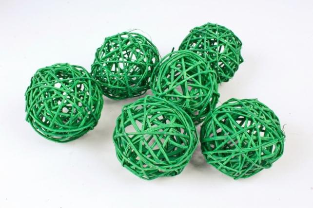 Набор шаров плетеных (ротанг) 6шт.,  пастельно-зеленый 48-17PG8