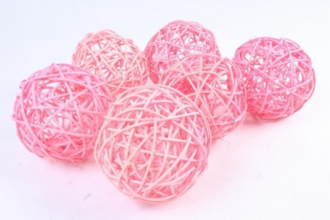 Набор шаров плетеных (ротанг) 6шт.,  розовый - Размеры: d=9 см.