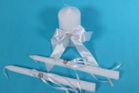 """Набор """"Свечи свадебные"""" в пластиковой  коробке с декором из белой ленты h=26см"""