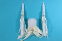 """Набор """"Свечи свадебные"""" в пластиковой  коробке с декором из шампань ленты h=26см"""