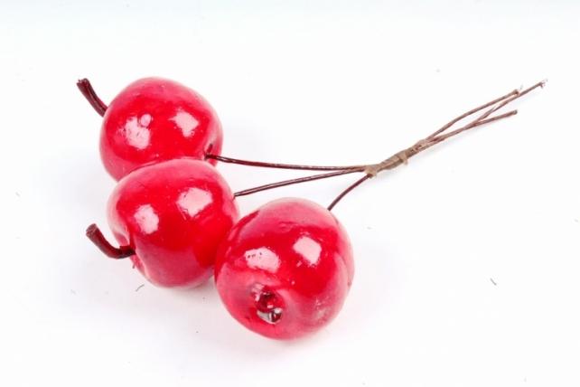 Набор яблок на вставках 3шт.,  красный KFS5-2581 (А)