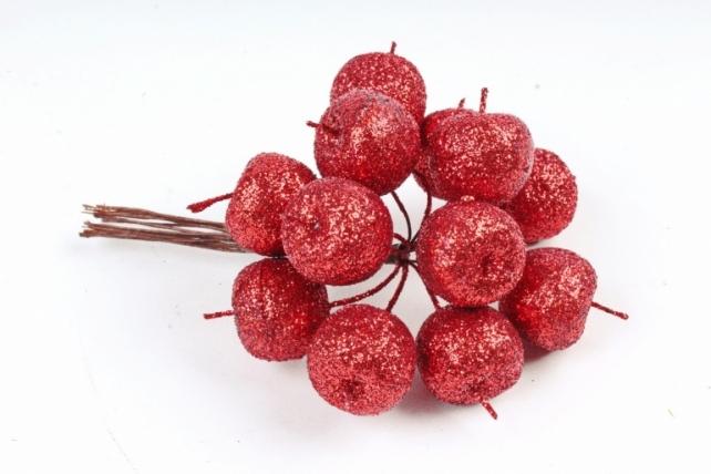 Набор яблок с глиттером на вставках 12шт.,  красный KFQ7901-9 (А)