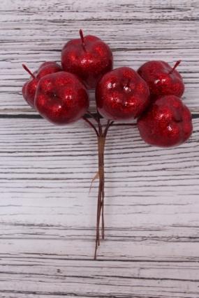Набор яблок с глиттером на вставках 6шт., D3xL12см, красный Q7041D-1