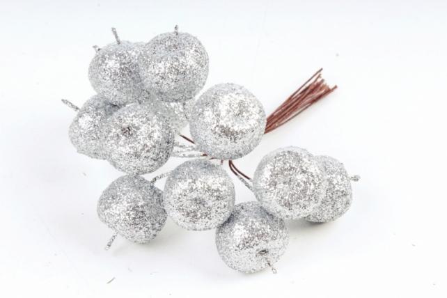 Набор яблок с глиттером на вставках 12шт.,  серебряный KFQ7901-15 (А)