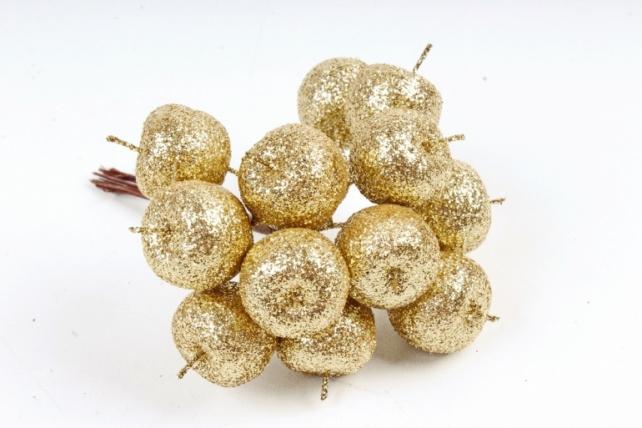 Набор яблок с глиттером на вставках 12шт.,  золотой KFQ7901-14 (А)