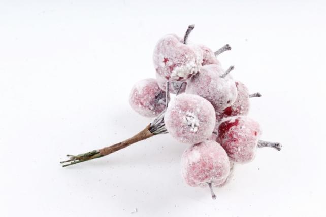Набор яблок заснеженных на вставках 12шт., красный KFW17343 (А)