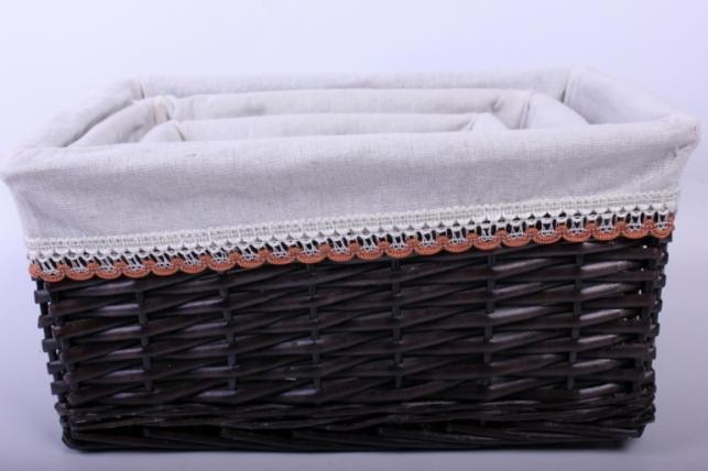 Набор ящиков плетеных прямоугольные с вкладышем из 3шт - (ива) коричневый 40*30, h=19см (КС - 038)