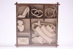 """Набор заготовок из дерева в коробке """"Свадьба"""" 004008"""