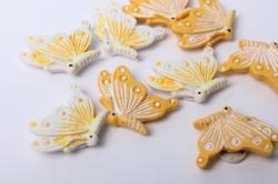 Наклейка Бабочка желто/бел. (9шт.)