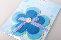Наклейка Цветок голубой фетр (1шт) 565