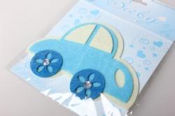 Наклейка Машинка голубая фетр (1шт) 569