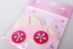 Наклейка Машинка розовая фетр (1шт)