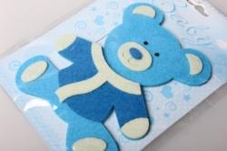 Наклейка Мишка голубой фетр (1шт) 563