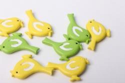 Наклейка Птички желто/салат.  (9шт.)