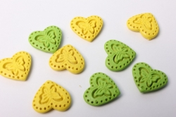 Наклейка Сердце желт./салат. с бабочкой (9шт.)