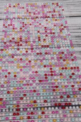 Наклейки на листе 3 мм жемчуг микс пастель по 1404шт DZ3AB-43