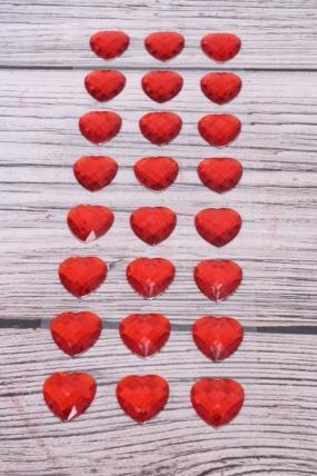 Наклейки Сердца красные 2,5 см 24 шт  DZ759