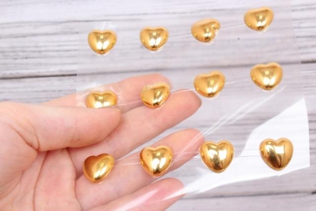 Наклейки Сердца золотые 15 мм 32 шт  DZ782