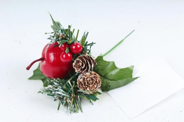 Новогодняя веточка яблоко,шишка    TYL16-814