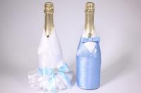 """Одежда-декор для шампанского """"Жених и Невеста"""" - бело/голубой (2шт в уп) (1)"""