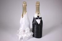 """Одежда-декор для шампанского """"Жених и Невеста"""" - черный/белый (2шт в уп) (1)"""