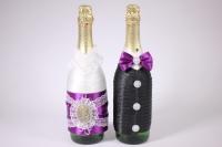 """Одежда-декор для шампанского """"Жених и Невеста"""" - черный/фиолетовый (2шт в уп) (1)"""