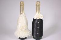 """Одежда-декор для шампанского """"Жених и Невеста"""" - черный/шампань с бусинами (2шт в уп) (1)"""