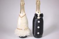 """Одежда-декор для шампанского """"Жених и Невеста"""" - черный/шампань с золотом (2шт в уп) (1)"""