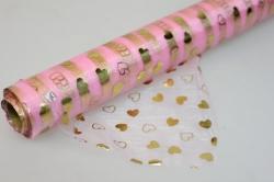 Органза с рисунком (70см х 10м) сердца золотые на розовом 232-09