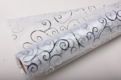 Органза с рисунком (70см х 10м) завиток серебряный 219-50