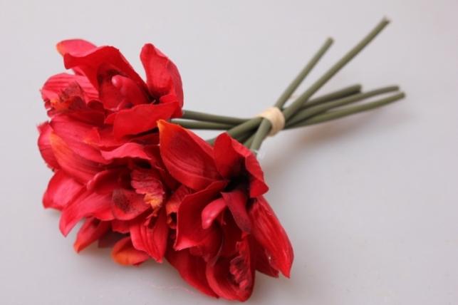 Орхидея красная 7шт 21см KWY 463 9383 - искусственные растения
