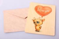 Открытка+конверт 15х10,5см - I love you (деревянный шпон)