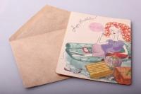 Открытка + конверт 15х10,5см - С днём рождения М-М-М!!! (деревянный шпон)