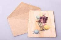 Открытка + конверт 15х10,5см - С днём рождения Зебра с подарком (деревянный шпон)