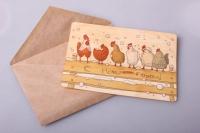 открытка+конверт 15х10,5см -  с новым годом курочки (дерево)