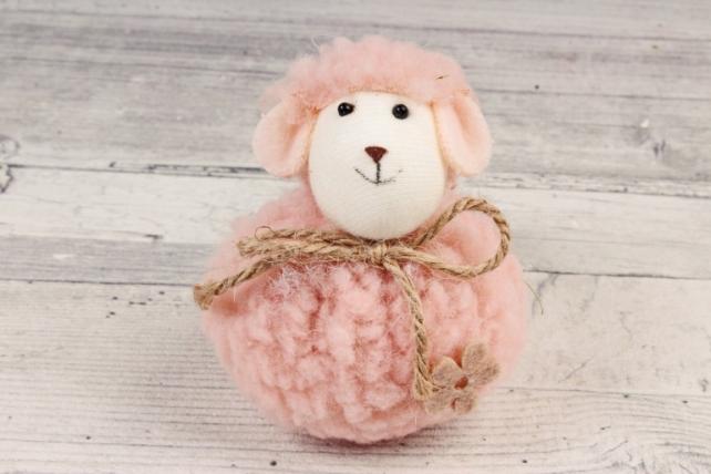 Овечка розовая 6*8 см текстиль