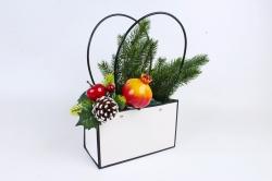 Пакет для цветов Прямоуг. белый с черным кантом  с пласт. ручками W107