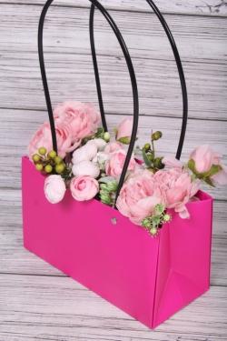"""Пакет подарочный """"Мастхэв"""" прямоугольный, 22х10х13 см, 10 шт./упак., ярко-розовый 0536М"""
